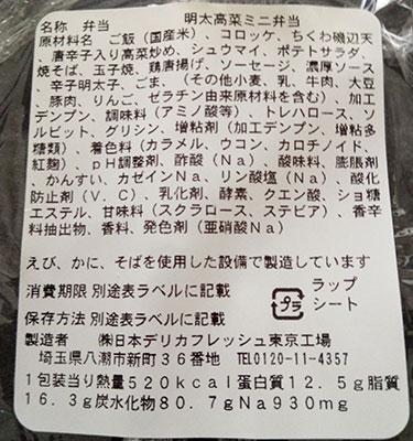 「明太高菜ミニ弁当(320円)」原材料名・カロリー