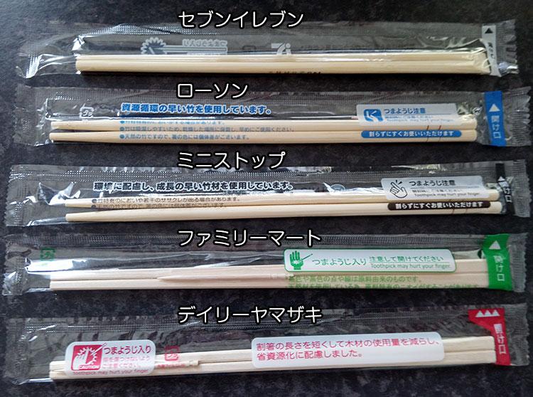 コンビニ主要5社の「割り箸」比較