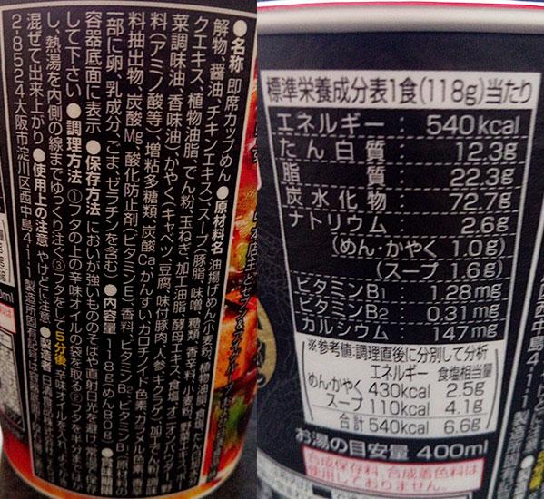セブンイレブン「蒙古タンメン中本(204円)」の原材料・カロリー