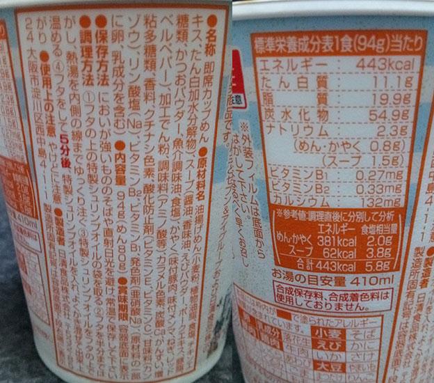 セブンイレブン「山頭火 ハワイ サイミン(158円)」の原材料・カロリー