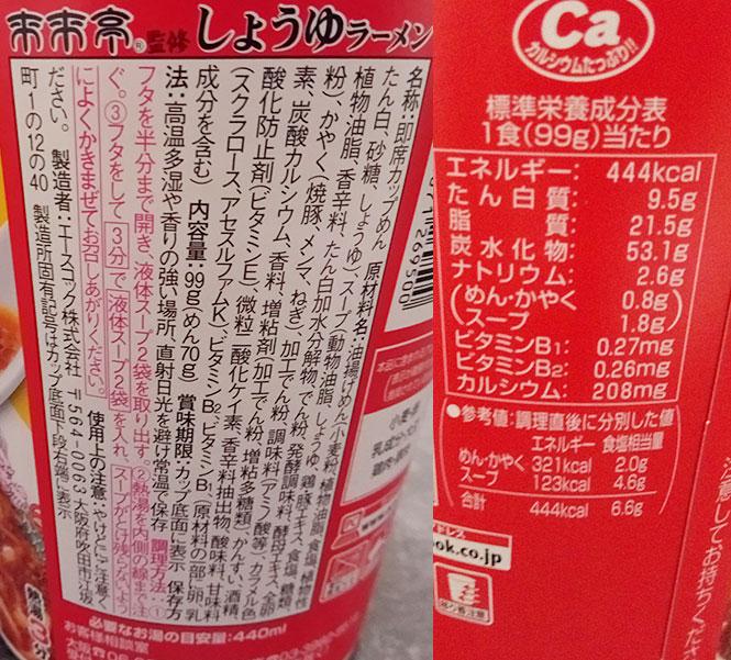 ファミリーマート「来来亭[しょうゆラーメン](216円)」の原材料・カロリー