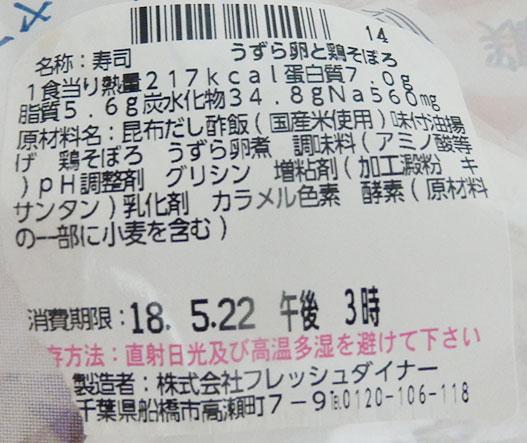 ローソン「おいなりさん うずら卵と鶏そぼろ(160円)」原材料名・カロリー
