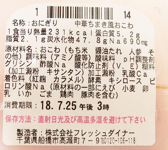 ローソン「中華ちまき風おこわおにぎり(140円)」原材料名・カロリー