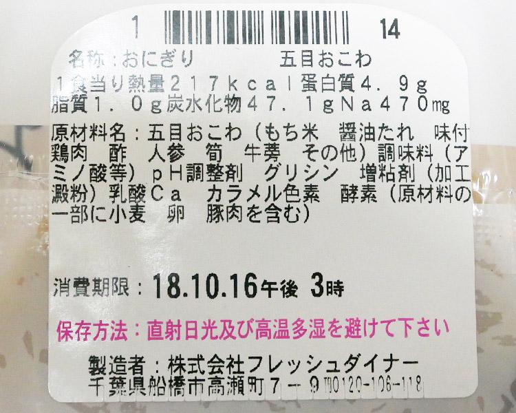 ローソン「おこわ米八監修 五目おこわおにぎり(145円)」原材料名・カロリー