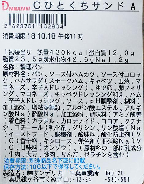 デイリーヤマザキ「ひとくちサンド(280円)」原材料名・カロリー