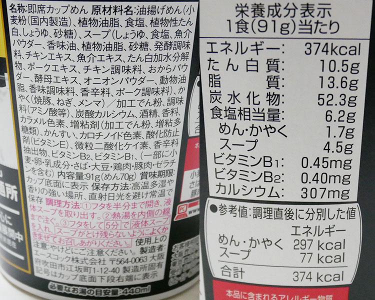 ファミリーマート「サバ6製麺所監修 サバ醤油そば(216円)」の原材料・カロリー