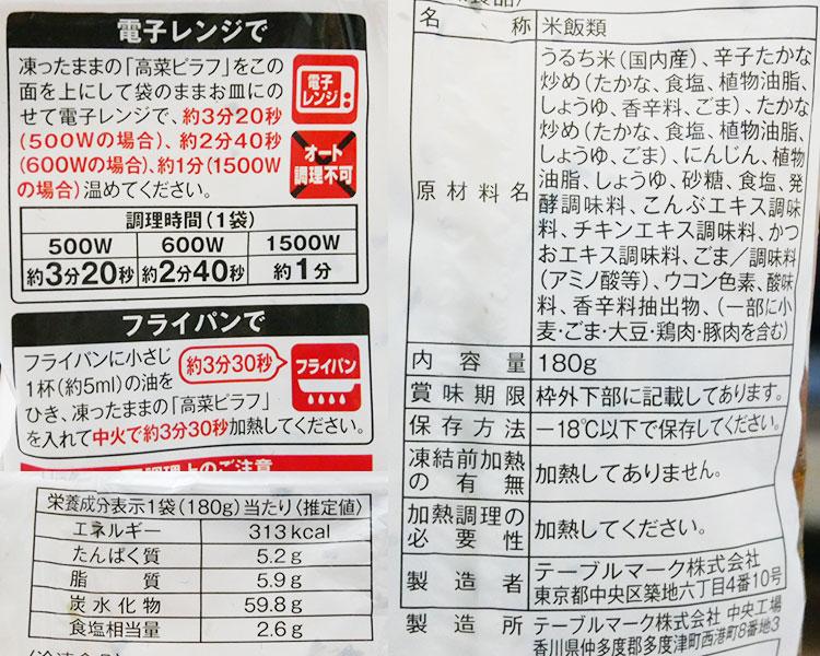 ローソン「冷凍食品 高菜ピラフ(138円)」の原材料・カロリー