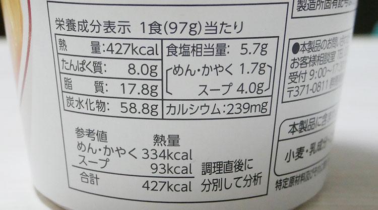 ファミリーマート「国産野菜具材100% コク味噌ラーメン(226円)」の原材料・カロリー