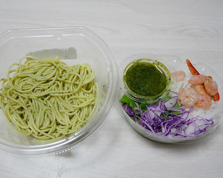 ファミリーマート「バジル香る!ぷりぷり海老のパスタサラダ(354円)」