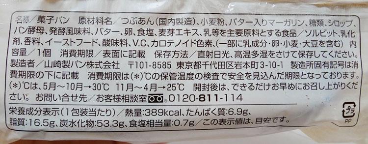 ファミリーマート「たい焼きみたいなデニッシュ[つぶあん](138円)」原材料名・カロリー