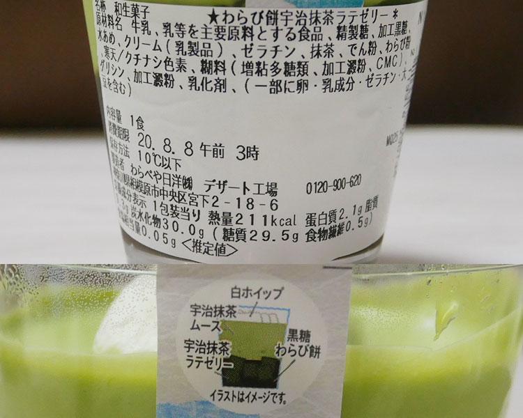 セブンイレブン「わらび餅宇治抹茶ラテゼリー(280円)」原材料名・カロリー
